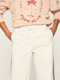 pantalon zaida color crudo raya lateral en color topo